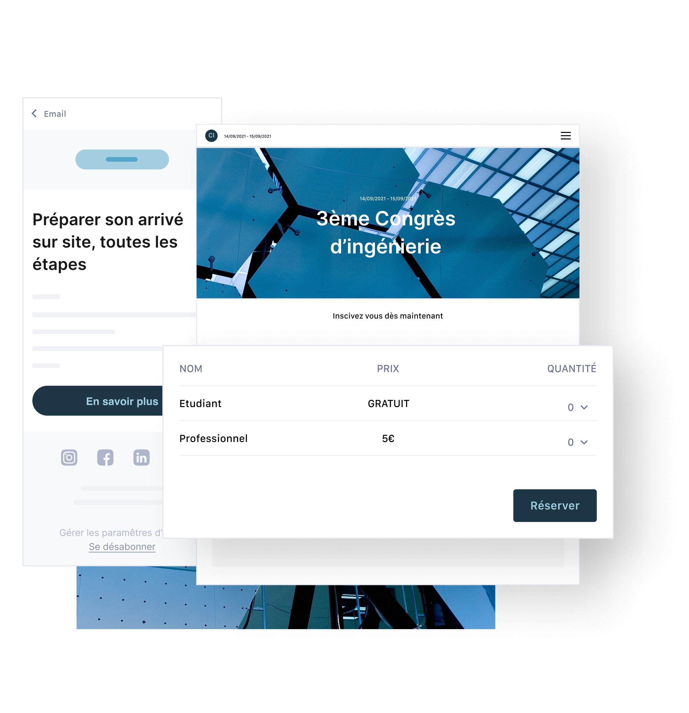 intégration d'un système d'inscription en ligne sur un site web et envoi d'invitations personnalisées