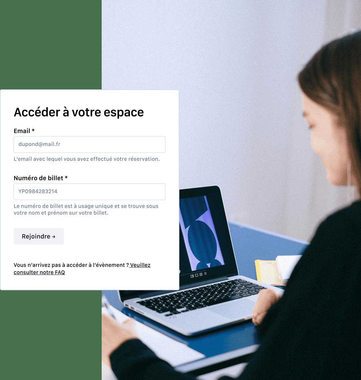 Écran d'accès sécurisé pour accéder à un espace en ligne
