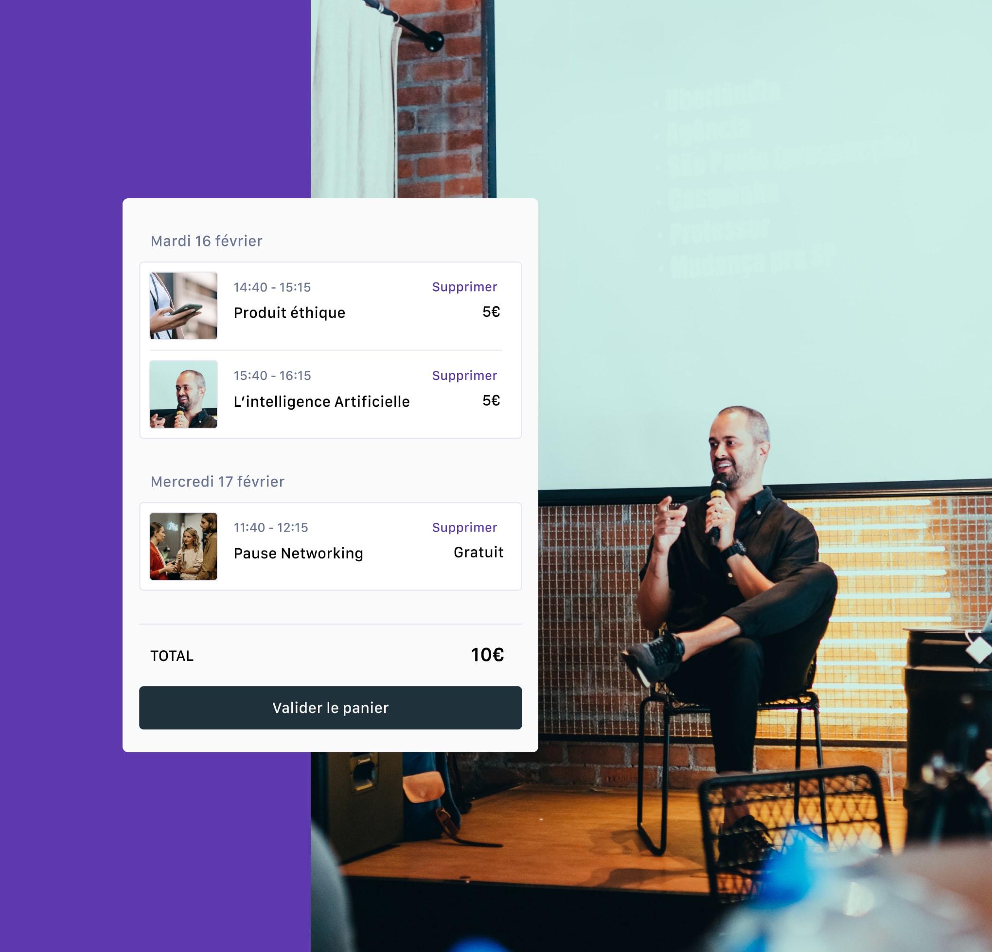 photo d'un conférencier en arrière plan et écran d'un programme d'évènement